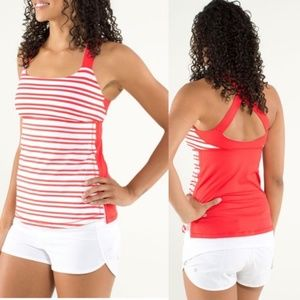 Lululemon Track And Train Tank Twin Stripe Red 12